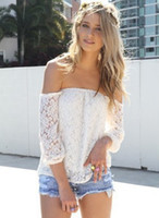 Wholesale 2014 New Hot Women Sexy Club Off the Shoulder Strapless Lace White Blouse Long Sleeves Slim Backless Perspective Lace Blouse
