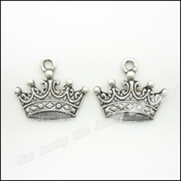 Wholesale 80 Vintage Charms Imperial crown Pendant Antique silver Fit Bracelets Necklace DIY Metal Jewelry Making