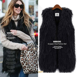Wholesale New Fashion Women s Faux Fur Vest Warm Tassel Long Coat Tank Sleeveless V neck Outwear Fur Waistcoat
