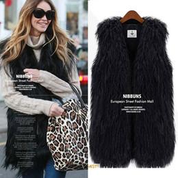 Wholesale New Fashion Women s Faux Fur Vest Warm Tassel Long Coat Tank Sleeveless V neck Outwear Fur Waistcoat