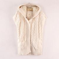 Cheap Fashion women's all-match twist cap cashmere yarn vest vest female Free shipping