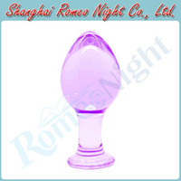 Wholesale Lilac Crystal Glass Cute Anal Toys Butt Plug Insert Stopper Unisex Sex Toys Adult Sex Products