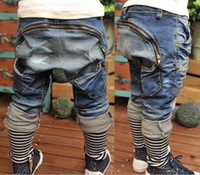 Wholesale Autumn Boys Jeans Zipper Haren pants Long Jeans K0122