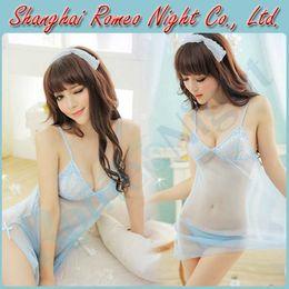 Wholesale Captivating Mesh Babydoll Dress Braces Skirt G String Blue Female Sexy Lingerie Costumes Erotic Suit