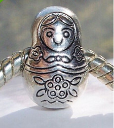 Wholesale Hot Antique Silver or Russian Doll Russia Travel Toy Big Hole European Bead for Charm Bracelet x9x9 mm