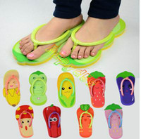 Wholesale cute fruits vegetables lovers beach sandals shoes lady home anti slip flip flops woman creative slippers