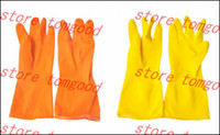 Silicone long rubber gloves - 2015 New Real Gardening Safety Wash Household Kitchen Decor Dishes Cleaning Rubber Latex Gloves Waterproof Long Sleeves Retail