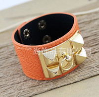 america leather bangle - Hot Sale Europe and America Fashion Exaggerate Jewelry Punk Style PU Leather Alloy Bangles and bracelet