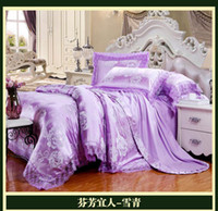 Silk / Cotton Woven Home Luxury brand lavender lilac lace satin jacquard bedding comforter sets king queen size duvet cover bedspread bed in a bag sheets home texile