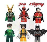 Wholesale 2014 new Super Heroes Toys Building Blocks Avengers LOKI BATMAN DEADPOOL GREEN LANTERN WOLVERINE ROBIN Star wars Action Mini figures toy
