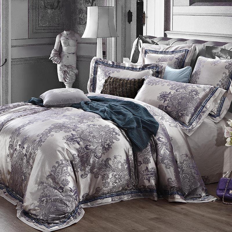 Wholesale Luxury Jacquard Satin Champagne Wedding Bedding Set King Queen Size Quilt Duvet Cover