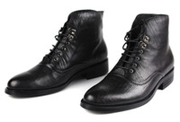 Ankle Boots Cowskin Flat Heel British style leather men shoes cowhide male pointed lace-up work boots soft surface boots Eur size 37 to 44