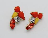 Wholesale Stylish red artificial gemstones geometric retro teardrop shaped silver plated earrings C363