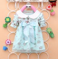 al por mayor ropa de vestir corea-Venta por mayor-MN-2014 primavera vestido de algodón de los niños Corea bebé niña manga larga flor grande bowknot encaje chico ropa hermosa 4pcs/lot