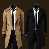 Wholesale Fashion new men autumn winters is recreational the double breasted long windbreaker Men s large lapels trench coat