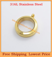 Chains Fashion Pendants Free shipping Hot sale 25mm GOLD round glass floating charm locket 316l stainless steel,wholesale living locket necklaces P200