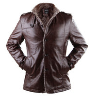 Wholesale New Winter Jacket Men PU Leather Jackets Man Stand Collar Medium Length Thicken Lining Button Outerwear Plus Size