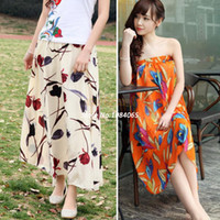 Polyester Ankle-Length A-Line New Women's Flower Print Bohemia Maxi Summer Beach Chiffon Full Long Skirts #005 SV002351