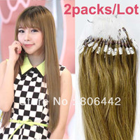 Wholesale 2Pack Brazilian Remy Human Hair Extensions Easy Loop Micro Rings Tips Beads Tipped Straight Hair