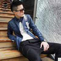 Men Stand Collar Acetate Spring 2014 new men's leather collar male Korean Slim Short machine wagon jacket male tide