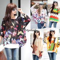 Women V-Neck Regular 2014 Women's Sexy Batwing Dolman Sleeve Chiffon Shirt Bohemian Tops Oversized Blouse 6 Colors SV000978 b010