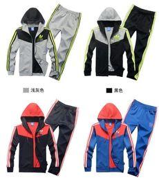 Wholesale Unisex Sport suit Knit tracksuit Contracted fashion Leisure suit hooded suit brand Coat trousers Sports clothes