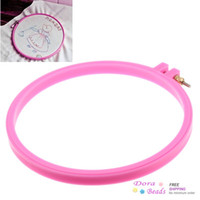 Wholesale Plastic Punch Needle Hoop Embroidery Tool Fuchsia cm x cm quot x7 quot B31158