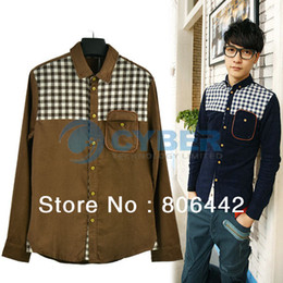 Wholesale 2013 New Fashion Men s Shirt Stylish Casual Long Sleeve Shirts Corduroy Colors M L