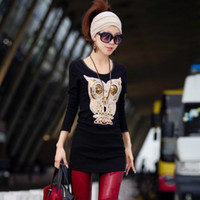Women V-Neck Regular 2013 new fashion plus size women clothing t shirt punk sexy tops tee clothes T-shirt Stereo owl pattern Four color