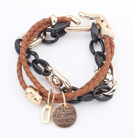 Wholesale New Arrival Italian Charms Double Layers Leather Rope Gold Chain Bracelets amp Bangles Women Bracelet Fashion Jewelry