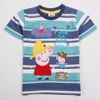 Boy Summer Children Nova kids wear new 2013 autumn-summer baby boy tops $ tees baby clothes embridery peppa pig boy t shirts C4418 free shipping
