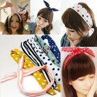 Barrettes & Clips african head wraps - Cute Rabbit Bunny Ear Wire Headband Scarf Hair Band Bow Head Wrap Polkadot Korea