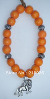 Charm Bracelets Women's Fashion Free Shipping Fashion Jewelry Vintage Silvers Lion Charm & Orange Wooden Beads Bracelet Bangles DIY Findings 10PCS N509