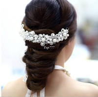 Barrettes & Clips Party Chirstmas Free Shipping Han edition hair White and red pearl crystal bride headdress by hand Wedding dress accessories bridal hair jewelry