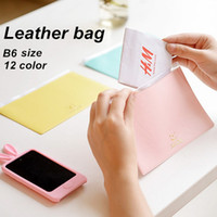 Wholesale 6 B6 Leather document bag Candy color folder for documents file clamp Stationary Office supplies material School