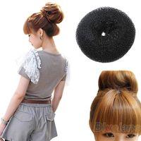 Wholesale Hair Donut Bun Ring Shaper Roller Styler Maker Black Hairdressing Elastic Round Nylon Wire