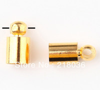 Charms Jewelry Findings Metal Wholesale Free Shipping Fashion Vintage 200pcs Plated Gold End Bead Caps Fits Leather Cord DIY Jewelry Findings 8*3mm N168