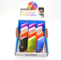 Wholesale Portable DANNI USB lighter with light Electronic Battery Cigarette Flameless Lighter with flash light display sneak a toke