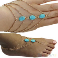 Trendy Women Fashion 2 types ankle bracelet and Bracelet Bangle Slave Chain Link Finger Hand Harness Turquoise Anklets Chain