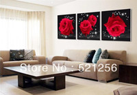 Oil Painting Yes Canvas Wholesale - Hot Sell Modern Wall Oil Painting Black Red Rose Flower Wall Art Picture Paint on Canvas Pure hand-painteds BLAP357