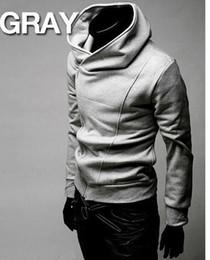 Wholesale Brand New Cotton blended Diagonal zipper Men s Hoodies Sweatshirts Jacket Coat Size M L XL XXL XXXL