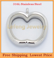Chains Cubic Zirconia Stainless Steel 2014 New Style Apple Silver Plain Glass Floating Lockets,316L Stainless Steel Magnetic Living Lockets Pendants P354