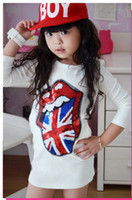 Wholesale MN NEW girls fashion union jack flag black white blue long sleeve fall dress kids girl stylish beading bling shining dresses