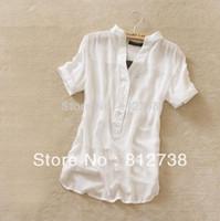 Wholesale Blue Yellow Pink Black new fashion womens summer chiffon shirt silk tops loose blouses shirts for women