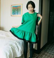 V-Neck Short Sleeve 0350 Korean Shopping stylenanda good girl big lotus leaf hem edge color loose round neck dress was thin