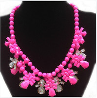 Beaded Necklaces Women's Fashion Free Shipping South Korea shourouk 2013 Women Spring Stylenanda Candy Colors Statement Crystal Necklaces Fashion 4501