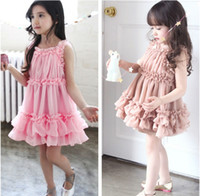 Wholesale MN Koran Style Fashion Summer Sleeveless Straps Ruched Chiffon Girl dress for kids Children Tulle Dress Pink Brown
