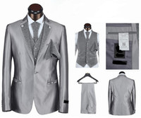 Cheap Hot ! Free Shipping 2014 New Deasign Brand 5 Pieces Wedding Suits Men Fashion Dress Tuxedo Size S-4XL Grey Black White Colors
