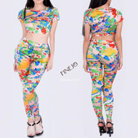None Flowers,Pattern O-Neck 2014 New Women Clothing Charming European Causal Dresses Two Piece Bodycon Crop Top and Pants Party Sexy Set #7 SV003382