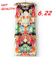 Straight Sleeveless Above Knee, Mini New spring 2014 dresses women's Sling models casual dress Retro cycling sleeveless vest color printing dress women SD016